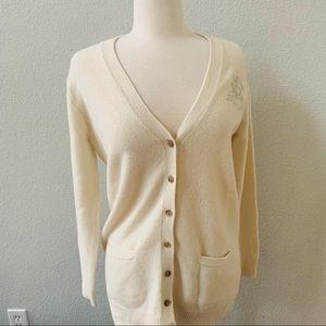 RALPH LAUREN logo vintage cardigan merino wool L